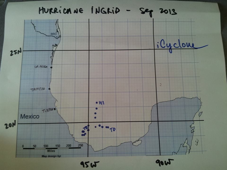 iCyclone - Ingrid Track Map